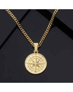 Compass Pendant in Gold
